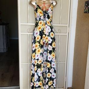 Romper Maxi Skort Dress Tropical Print Small (d07)